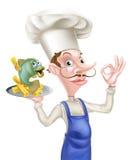 Cocinero With Fish de la historieta y microprocesadores Foto de archivo