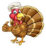 Cocinero Giving Thumbs Up del pájaro de Turquía de la historieta Fotografía de archivo libre de regalías