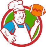 Cocinero gordo Twirling Football Circle del cocinero retro Imagen de archivo libre de regalías