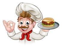 Cocinero Holding Burger del personaje de dibujos animados Fotografía de archivo