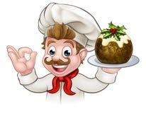 Cocinero Holding Christmas Pudding ilustración del vector