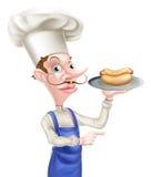Cocinero Holding de la historieta un perrito caliente ilustración del vector