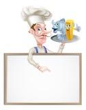 Cocinero Holding Fish y Chips Sign de la historieta Imagen de archivo libre de regalías