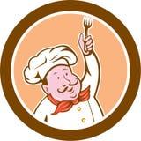 Cocinero Holding Fork Cartoon del cocinero ilustración del vector
