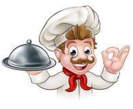 Cocinero Holding Plate de la historieta o disco stock de ilustración