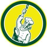 Cocinero Holding Spatula Pan Woodcut del cocinero stock de ilustración
