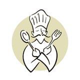 Cocinero Holding Spoon y bifurcación libre illustration