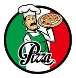 Cocinero italiano con la pizza Foto de archivo