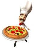 Cocinero italiano con una pizza Imagen de archivo libre de regalías
