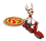 Cocinero italiano con una pizza libre illustration