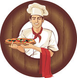 Cocinero italiano de la pizza Fotografía de archivo