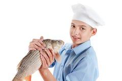 Cocinero joven que sostiene una carpa de los pescados en el fondo blanco Imagenes de archivo