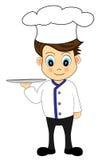 Cocinero lindo de la historieta con una bandeja Imagen de archivo