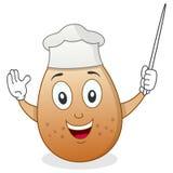 Cocinero lindo Egg Character con el indicador Foto de archivo libre de regalías
