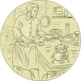 Cocinero medieval Kitchen Oval Drawing Imagenes de archivo