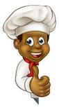 Cocinero negro Cartoon Character Mascot Fotografía de archivo libre de regalías