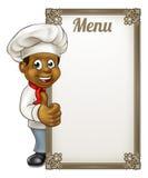 Cocinero negro Menu de la historieta Imagenes de archivo