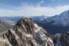 Cocinero Peak, visión aérea, Nueva Zelanda del sur del soporte Foto de archivo