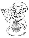 Cocinero Pig Character Mascot del panadero de la historieta Imágenes de archivo libres de regalías
