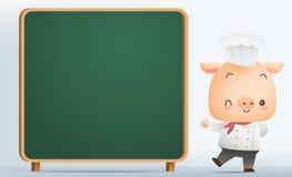 Cocinero Pig con la pizarra en blanco Fotos de archivo