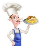 Cocinero With Pita Kebab de la historieta y microprocesadores Fotografía de archivo