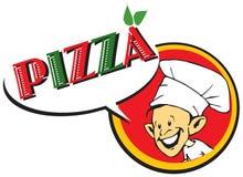Cocinero/pizzaiolo italianos con la pizza/la insignia Fotos de archivo libres de regalías