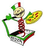 Cocinero/pizzaiolo italianos con la pizza/la insignia Fotos de archivo