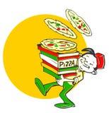 Cocinero/pizzaiolo italianos con la pizza/la insignia Foto de archivo
