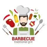 Cocinero profesional del vector plano: icono de la parrilla de la barbacoa del restaurante Imagen de archivo libre de regalías