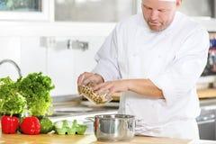 Cocinero profesional que prepara la comida en cocina grande Fotografía de archivo libre de regalías