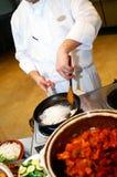 Cocinero profesional que prepara platos Fotografía de archivo