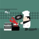 Cocinero que cocina el camarón Fotografía de archivo libre de regalías