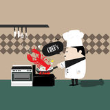 Cocinero que cocina el camarón Imágenes de archivo libres de regalías