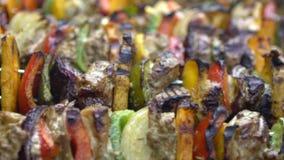 Cocinero que cocina la barbacoa con los pinchos en la carne asada a la parrilla Bbq delicioso del brochette almacen de metraje de vídeo