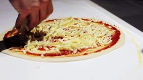 Cocinero que cocina la pizza en la pizzería almacen de video