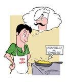 Cocinero que cocina la tortilla de huevos Imagen de archivo libre de regalías