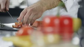 Cocinero que corta pescados en la cocina profesional Manos del cocinero del primer que cortan salmones almacen de video