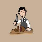 Cocinero que corta un jamón delicioso Fotos de archivo libres de regalías