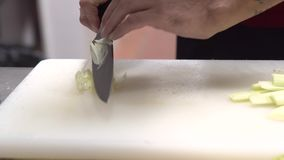 Cocinero que corta una cebolla con un cuchillo almacen de metraje de vídeo