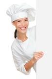 Cocinero que muestra la muestra en blanco imágenes de archivo libres de regalías