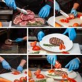 Cocinero que prepara el filete de la carne Imagen de archivo libre de regalías