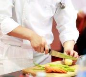 Cocinero que prepara la comida, comida, en la cocina, cocinero que cocina, cocinero que adorna el plato foto de archivo