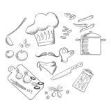 Cocinero que prepara la ensalada vegetariana, iconos del bosquejo Fotos de archivo