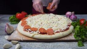 Cocinero que prepara una pizza Capítulo Lugar de la pizza Preparación de alimento Cocinero de la pizza Cocinero que lanza la past metrajes