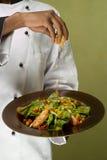 Cocinero que presenta la ensalada de pollo sana Imagen de archivo libre de regalías