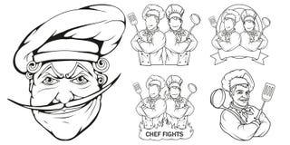Cocinero que se coloca en una diversa actitud, jefe del restaurante, cocinero del cocinero de la historieta en el uniforme, logot libre illustration