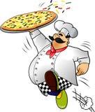 Cocinero que se ejecuta con la pizza Foto de archivo libre de regalías