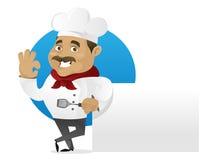 Cocinero que se inclina en muestra en blanco ilustración del vector