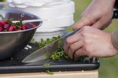 Cocinero que taja el perejil Foto de archivo libre de regalías