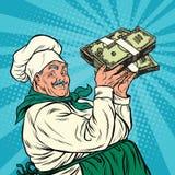 Cocinero retro con un paquete de dinero ilustración del vector